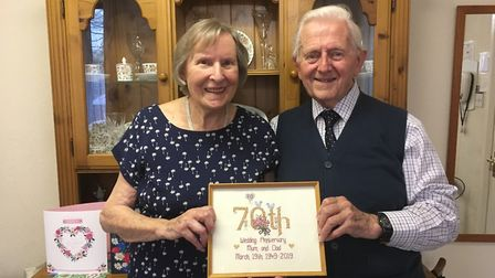 Barbara and Eric Lang celebrate 70 years of marriage after meeting at a dance. Picture: Clarissa Pla