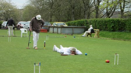 Sidmouth's Richard Wood in action at the Nailsea Tournament. Picture SIDMOUTH CROQUET CLUB