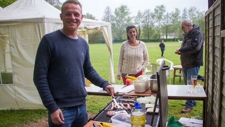 Charlie Ackerley on BBQ duties at the Sidbury cricket Alpaca fundraising event. Ref shs 18 19TI 3622