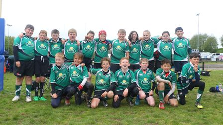Sidmouth RFC Under-11s line up at the end of their 2018/19 season. Picture SIMON HORN