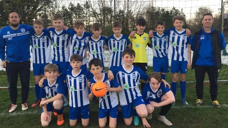 Ottery St Mary Under-13s who contest the Exeter and District Youth League cup final on Saturday at t