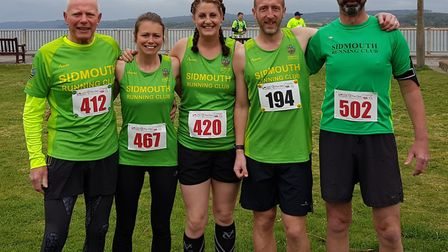 Sidmouth Running Club members at the Exmouth 10k and half Marathon meeting. Picture SRC