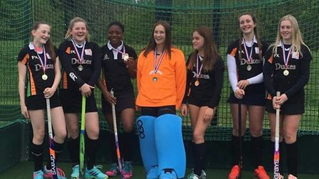 Sidmouth and Ottery Hockey Club Under-14s, the 2019 Devon champions. (Left to right) Freya Pellow, J