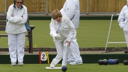 Ottery bowler Sharon Kenny in action. Picture OSMBC