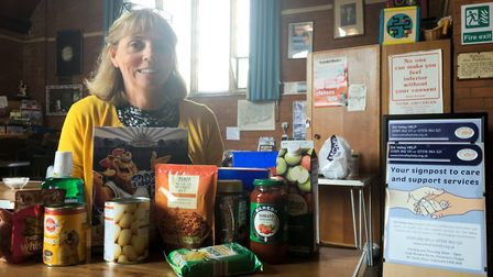Andie Milnes at Sidmouth's food bank. Ref shs 16 19CP 2301. Picture: Clarissa Place
