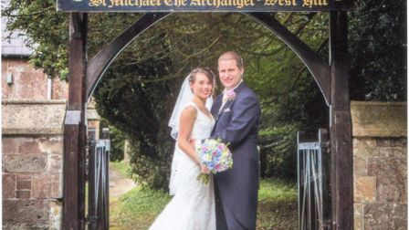 Catrina and Samuel Godbold on their wedding day outside St Michael's Church in West Hill. Picture: T