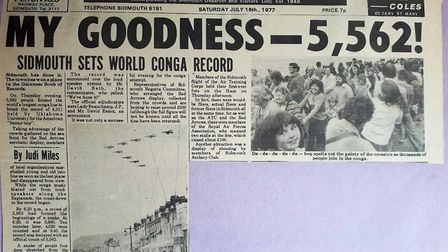 Sidmouth record congaline - 1977. A clipping from the Sidmouth Herald's coverage of the event. Pictu