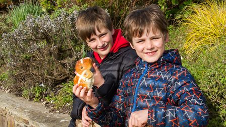Jake and Oscar Burston were this year's first in the queue at the Sidmouth Hot Cross Bun give-a-way.