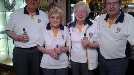 The winners of the morning indoor bowls 'Closing Drive' meeting at Sidmouth. Picture CAROL SMITH