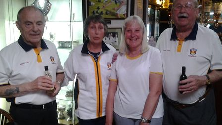 The winners of the afternoon indoor bowls 'Closing Drive' meeting at Sidmouth. Picture CAROL SMITH