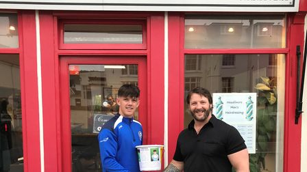Cole Monaghan with Leon, who, together with Mel at Sidmouth based Headliners Barbers, has helped the