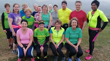 The Sidmouth Running Club three-mile group take a break at the top of Beacon Hill. Picture SRC