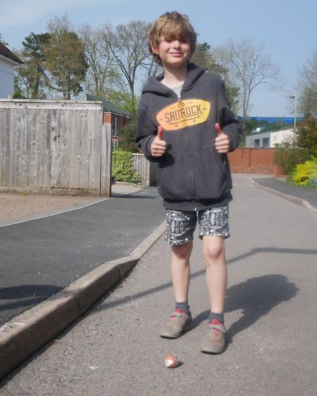 One participant is happy with how far their egg rolled during the competition. Picture: Ed Vosper