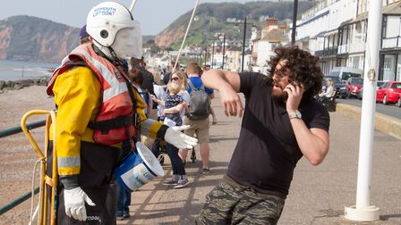 A real life Mannequin Man surprised people by moving when they donated to Sidmouth Lifboat. Ref shs