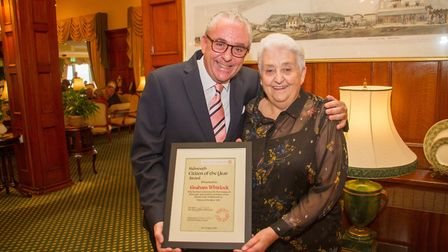 Sidmouth Citizen of the Year Graham Whitlock with his Mum Patricia. Ref shs 17 19TI 3124. Picture: T