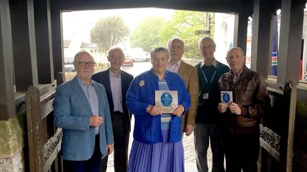 Members of the SVA including authors and members of the blue plaque committee celebrate the launch o