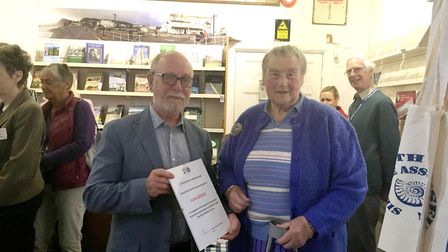 Richard Thurlow presents a certificate of appreciation to book author Julia Creeke. Picture: Clariss