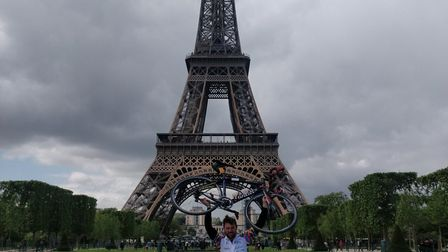 David Salter celebrates riding from London to Paris in 24 hours. Picture: David Salter