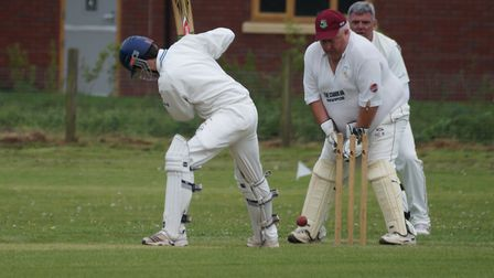 Tipton St John's Charlie O'Higgins is bowled during the defeat to Newton poppleford. Picture PHIL WR