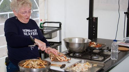 Seafood cooking demostration at the Sidmouth Sea Fest. Ref shs 20 18TI 3086. Picture: Terry Ife