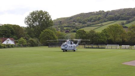 The helicopter arrives on the field. Picture: Charlotte Pollentine