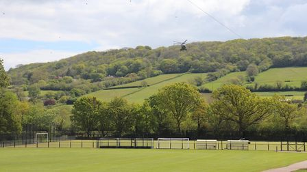 The helicopter arrives to meet the students. Picture: Charlotte Pollentine