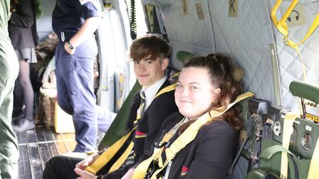 Students see what it is like aboard the helicopter. Picture: Charlotte Pollentine