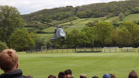 The helicopter takes off after a busy afternoon with students. Picture: Charlotte Pollentine