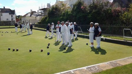 Action from the Sidmouth meeting with Seaton. Picture SIDMOUTH BOWLS CLUB