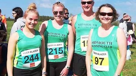 The four Sidmouth Running Club members who were involved in the 2019 Beer Blazer series of runs. Pic