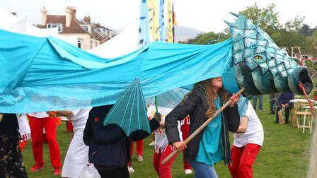 Sidmouth Sea Fest procession with Street Heat on Saturday afternoon. Picture: Simon Horn