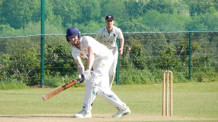 Dylan Hurst batting for Sidmouth III at Bradninch. Picture STEVE BIRLEY