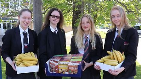 Students at Sidmouth College are being boosted by breakfast items donated by supermarkets including