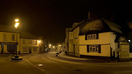 Night time in the centre of Beer with the first fall of snow. Picture: Chris Martin
