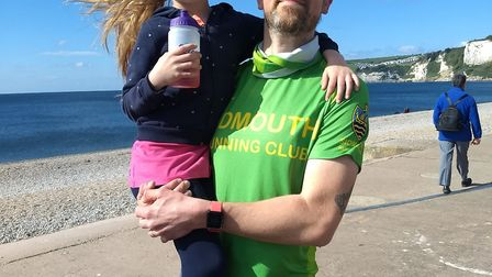 Chris Day-Kerry and daughter Ophelia at Seaton Parkrun. Picture SRC