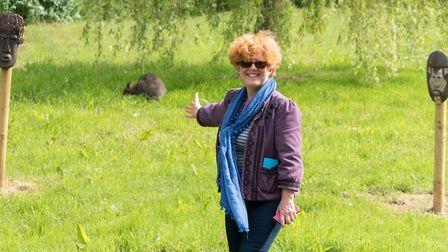 Joanna Tomlins with the wild Wallaby in Ottery. Ref sho 23 19TI 1020945. Picture: Terry Ife