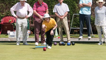 Steve Goodenough playing in the Ottery bowls club's Ladies & Gentlemans Tea Party Competition. Ref s