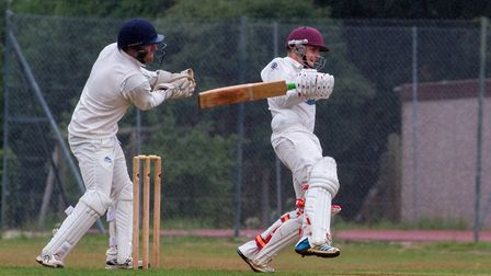 Elliott Rice batting for Sidmouth 2nds away at Kilmington. Ref shsp 33 18TI 9769. Picture: Terry Ife