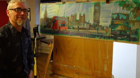 Colin Brown and his London painting. Picture: Sidmouth Society of Artists