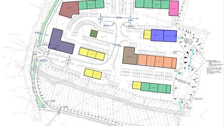 A site layout showing the fixed layout of buildings for the proposed development at the site at Two