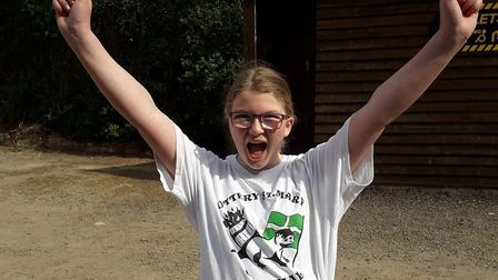 Abigail Gibbons, 12, successfully completed a charity zipline in aid of Ottery carnival and tar barr