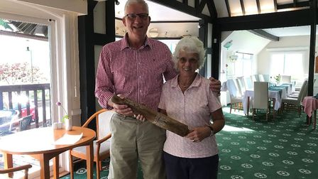 Lester Wilmington presenting the Rolling Pin trophy to Penny Lyne. Picture SGC