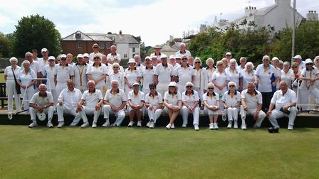Sidmouth and the City and Port of Bristol bowlers. Picture SBC