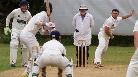 Oliver West bowling for Ottery against Sidmouth. Ref shsp 25 18TI 5803. Picture: Terry Ife