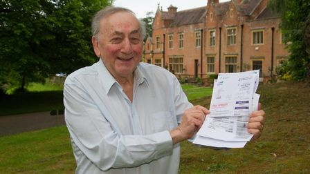 Louis Herberg with his water bill. Ref shs 23 19TI 5672. Picture: Terry Ife