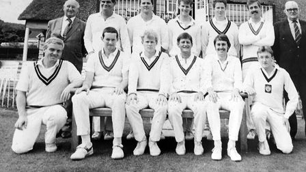 The Sidmouth first team that won the Devon League in 1988. Alan Wardrop is second from the left in t