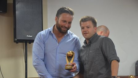 Ottery St Mary manager Dave Fairweather with Ben Rushton who won the Managers Player of the Year awa