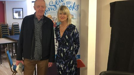 Sidmouth Literary Festival. Tim Pears with Jane Corry. Picture: