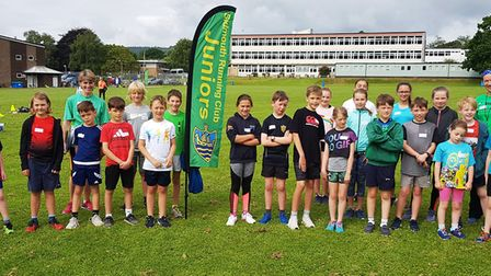 The inaugural Sidmouth Running Club junior group all set for action in the grounds of Sidmouth Colle