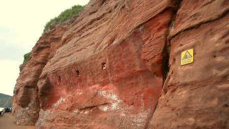 The red dye used on the cliff works have been criticised. Picture: East Devon District Council